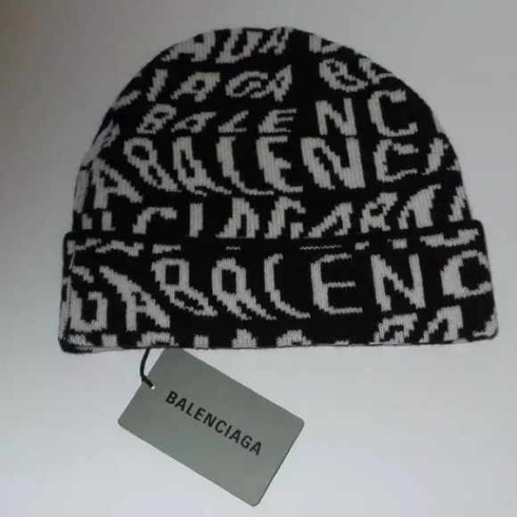 BALENCIAGA ALL-OVER-LOGO VIRGIN WOOL BEANIE HAT
